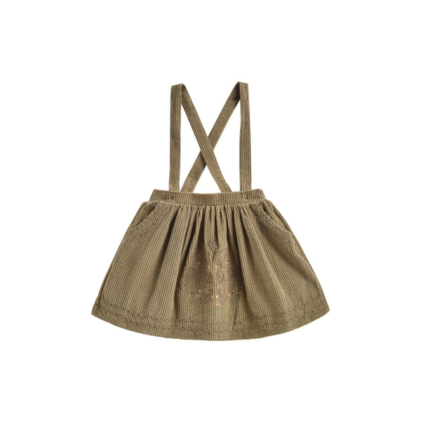Girls Khaki Velvet Cotton Skirt