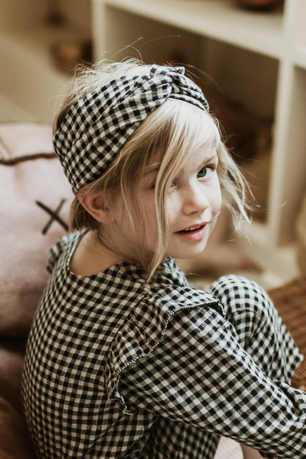 Girls Black Vichy Organic Cotton Headband