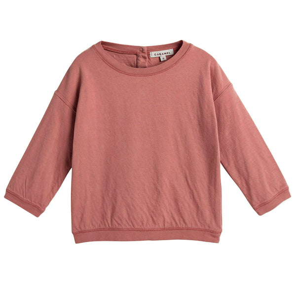 Baby Boys Dark Rose Red Cotton Jersey Sweater - CÉMAROSE | Children's Fashion Store - 1