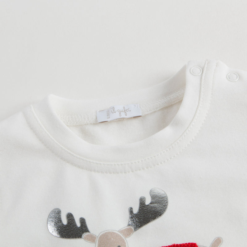 Baby Girls Ivory Deer Printed T-Shirt