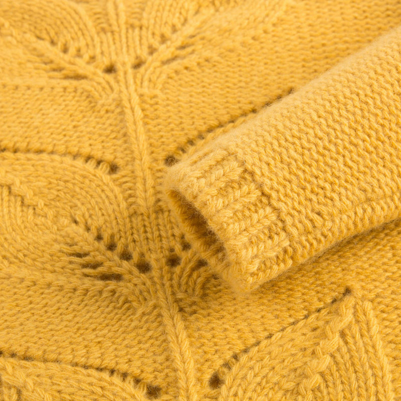 Girls Yellow Wool Sweater Leaves Hollow