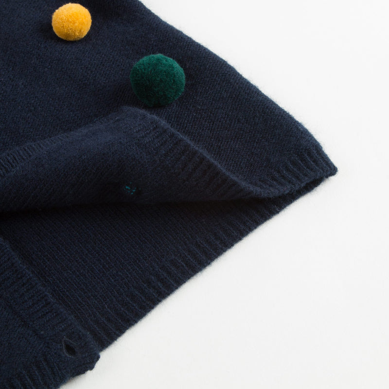 Girls Navy Blue Wool Cardigan With Pom-Pom Trims