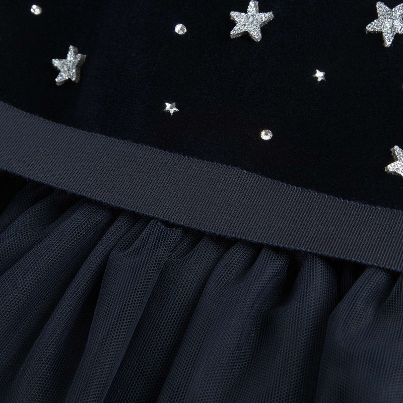 Girls Navy Blue Dress With Star Trims