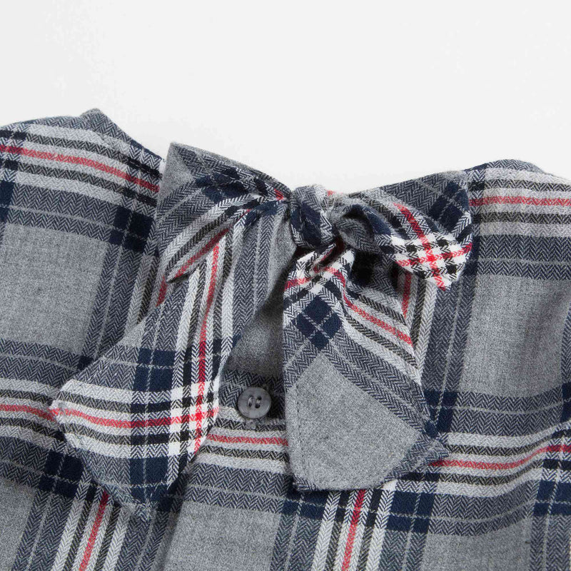Girls Blue Checked Cotton Shirt With Tie
