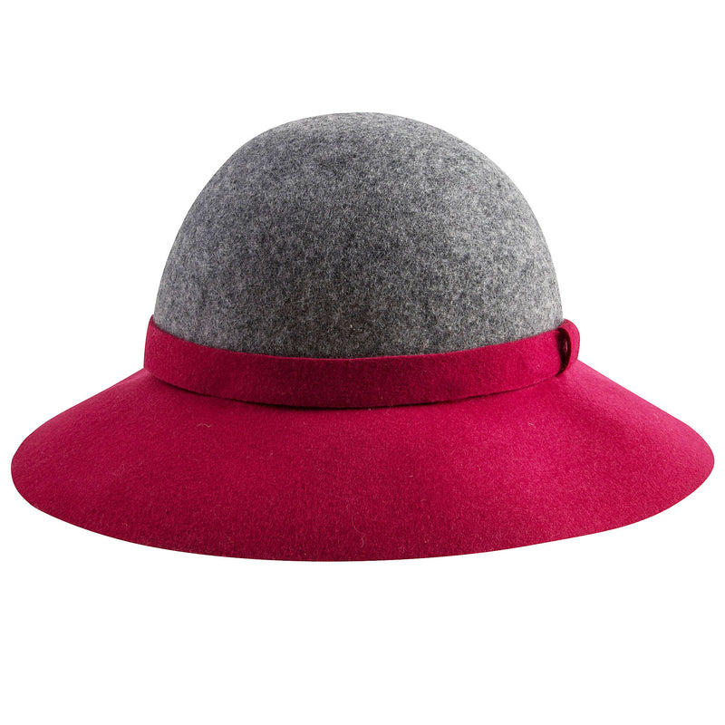 Girls Grey & Red Hat With Bow