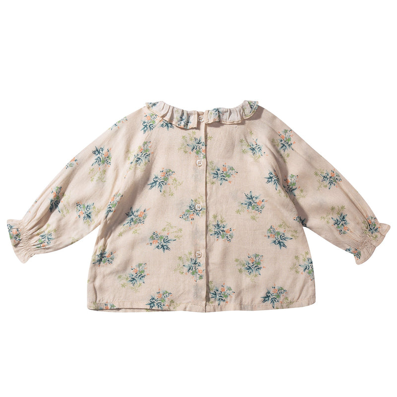 Baby Girls Ivory Flowers Printed Woven Blouse