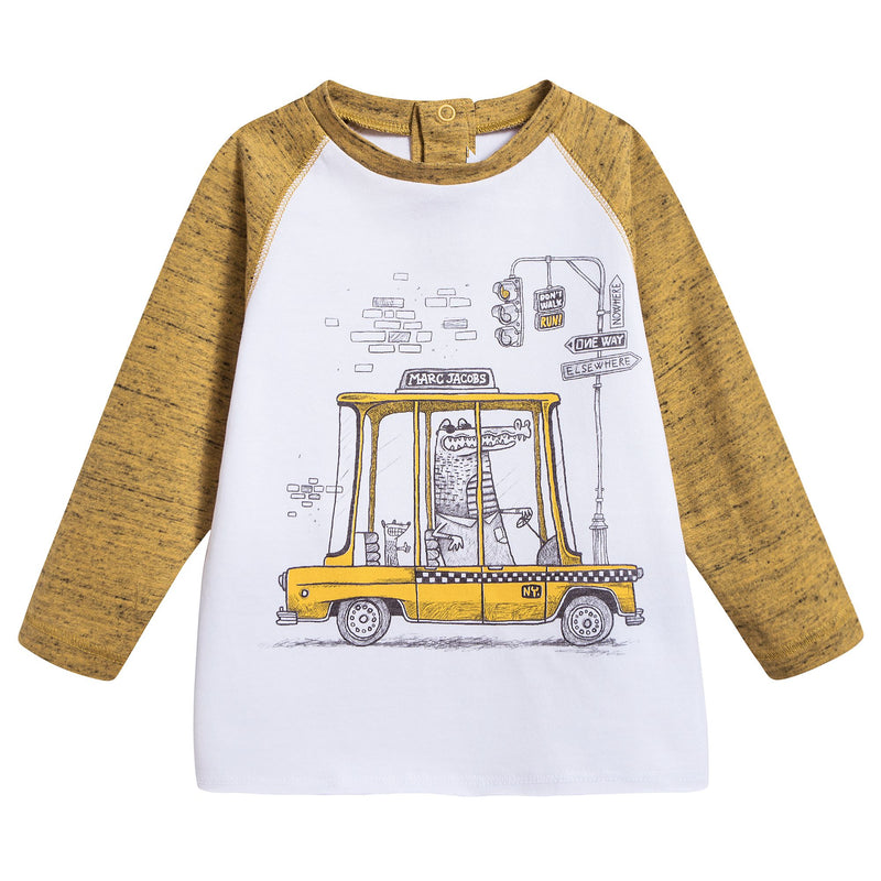 Baby Boys White & Yellow T-shirt With Car Print