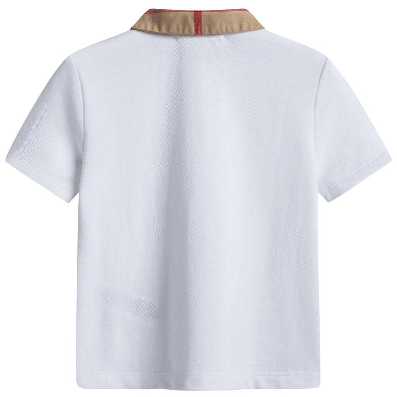 Girls White Cotton Polo Shirt
