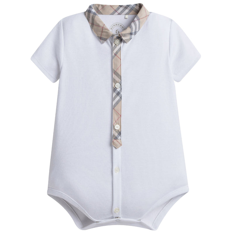 Baby Boys White Cotton Babysuit With Check Collar