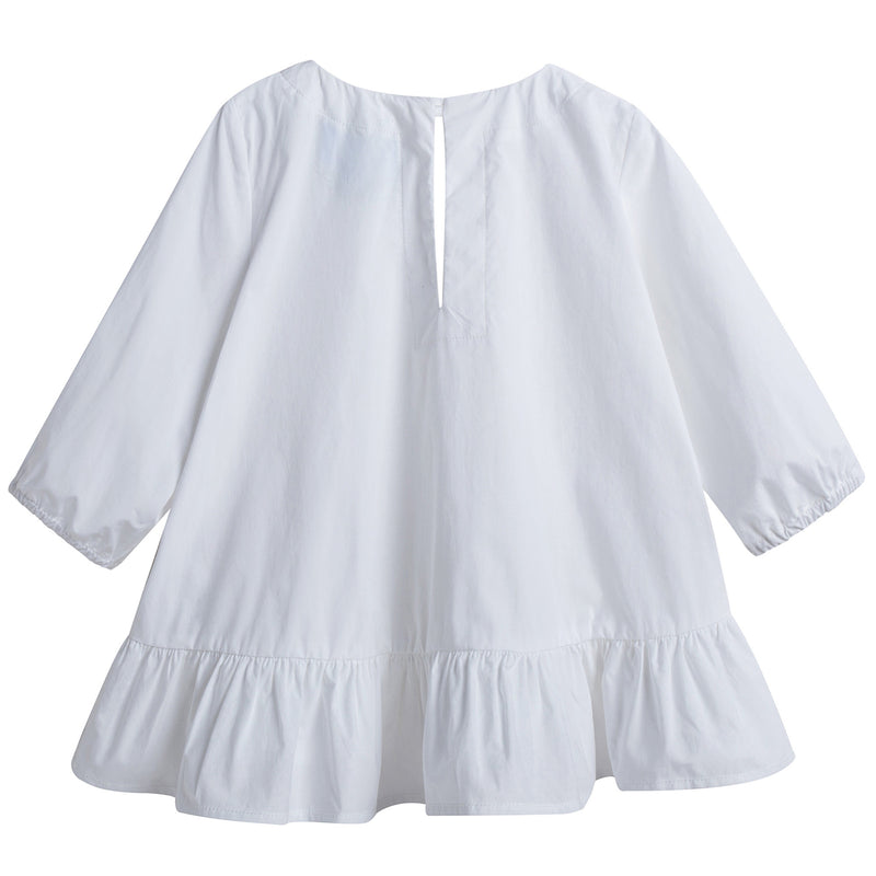Girls White Cotton Top With Flounces