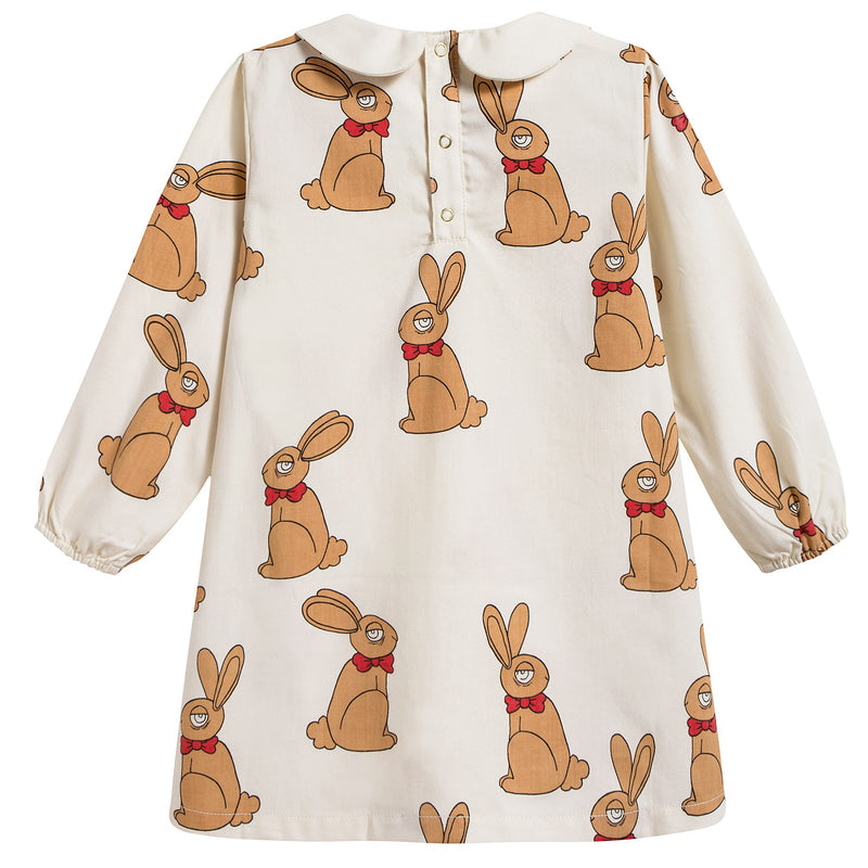 Girls Beige Rabbit Woven Cotton Dress