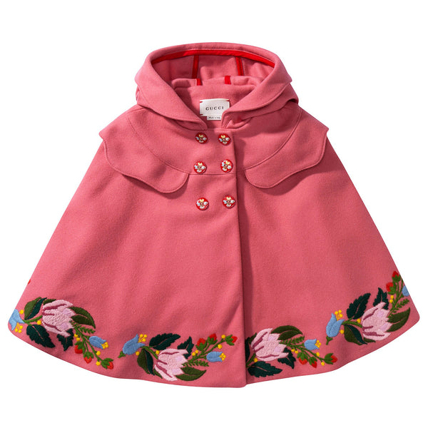 Baby Girls Pink Wool Cape
