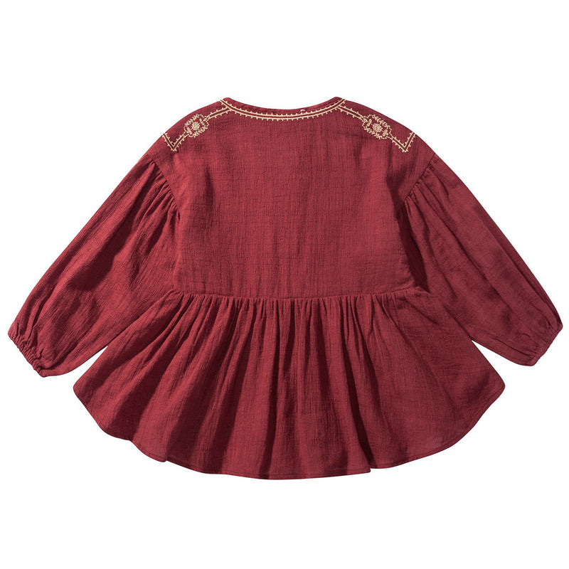 "Girls Wine Red ""Ourika"" Cotton Dress"