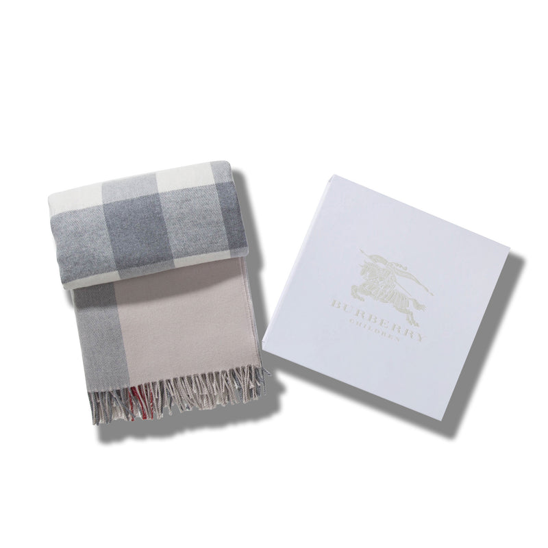 Girls Ivory Check Wool Scarf