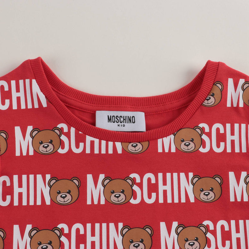 Girls Red Toy Lettering Cotton Dress
