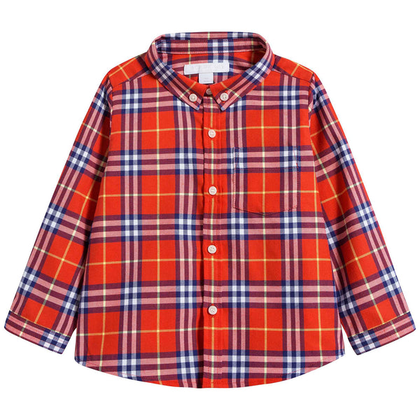 Baby Boys Orange Red Check Cotton Shirt