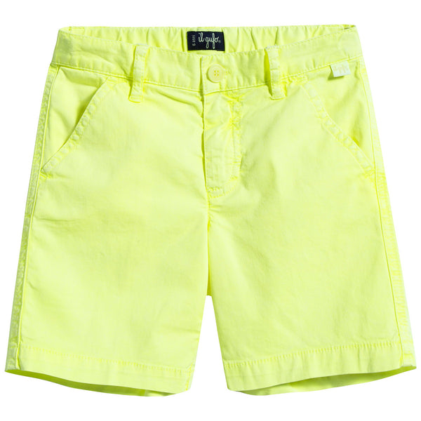 Boys Light Yellow Cotton Shorts