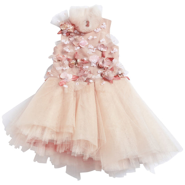 Girls Pink Embroidered Luxe Dress