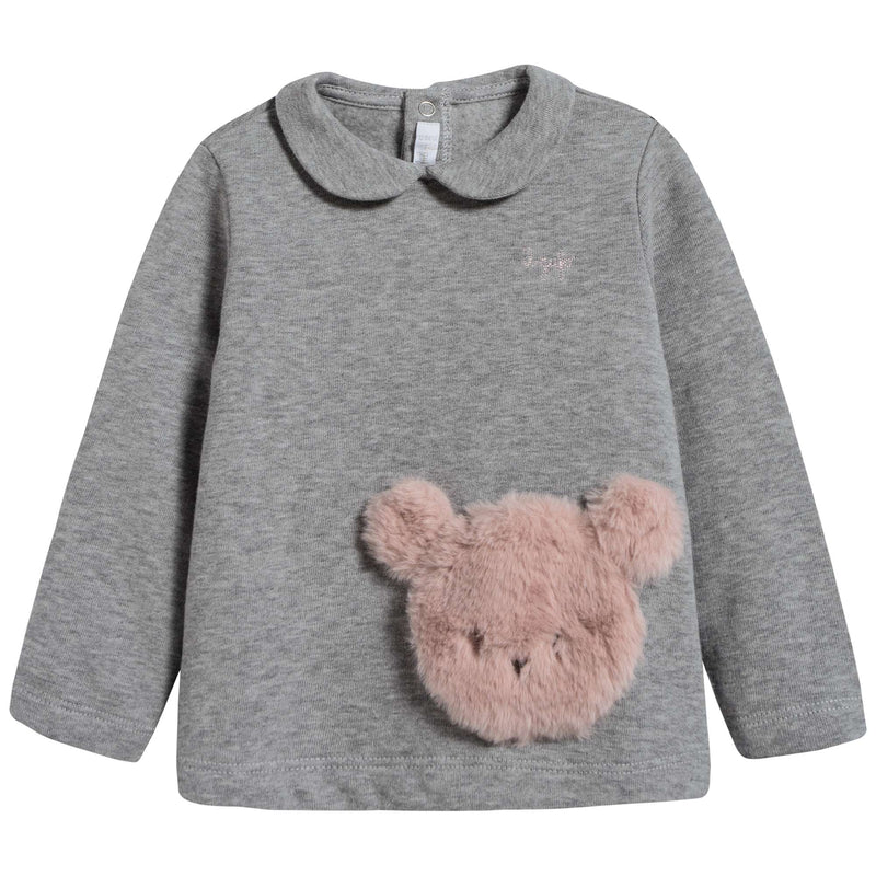 Baby Girls Grey & Pink Cotton Two Piece Set