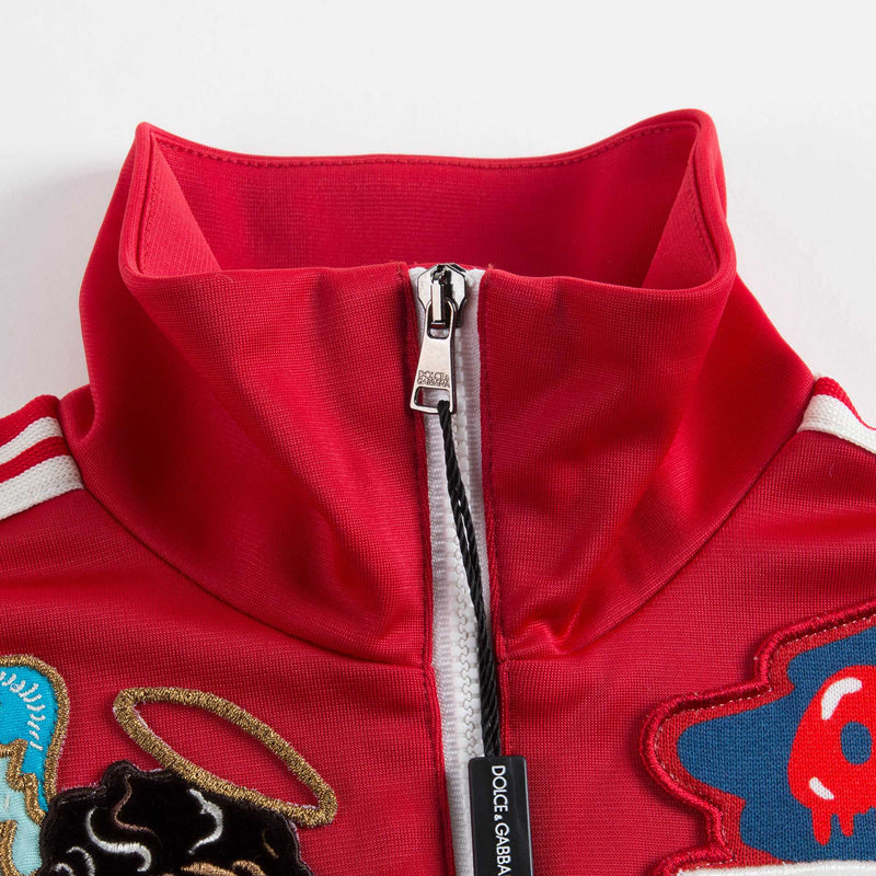 Boys Red Embroidered Zipped Cardigan