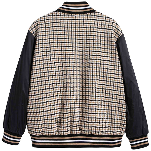 Boys Black Check Coat