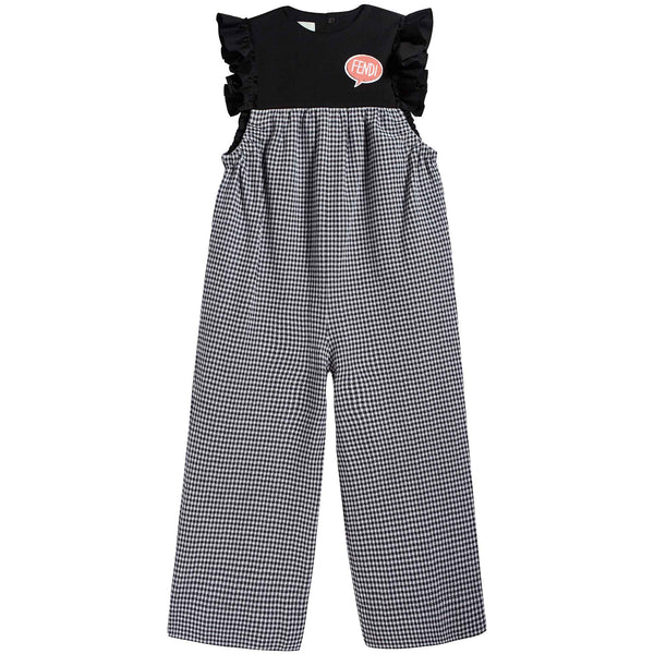 Girls Black & White Check Rompers
