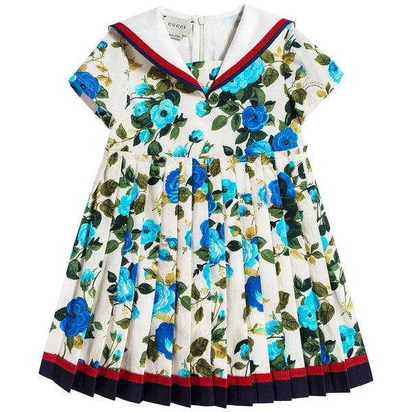 Baby Girls Blue & Ivory Dress