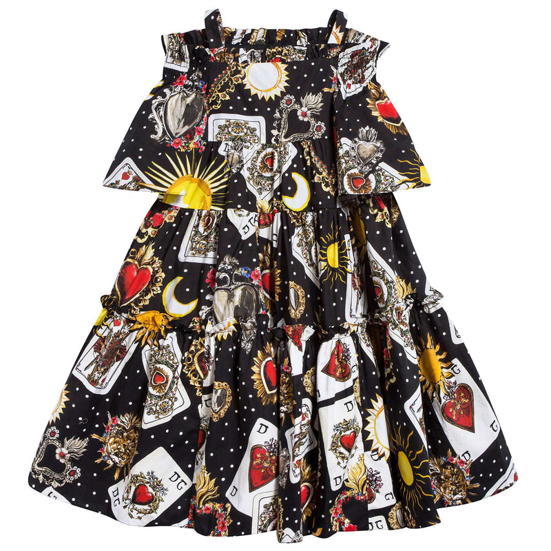 "Girls   Black   ""Poker  Printed""   Cotton   Dress"