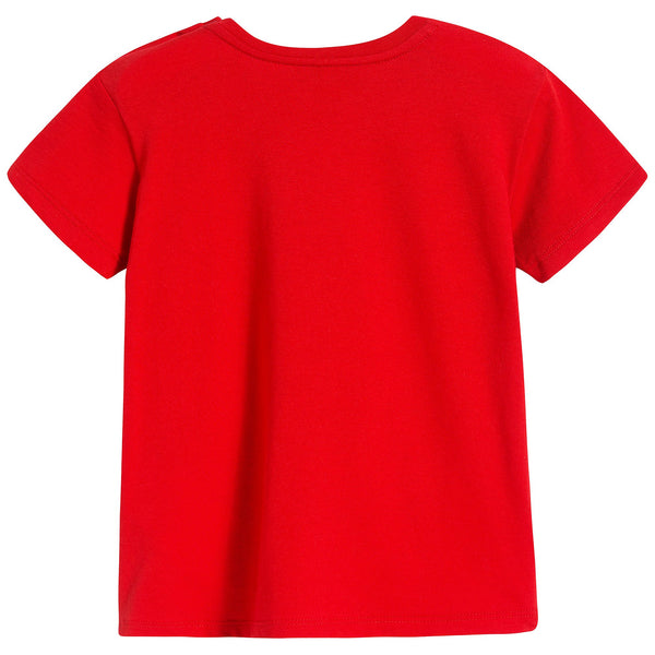 Baby Girls Red Printed Cotton T-shirt