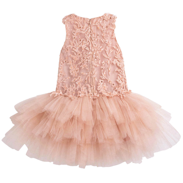 Girls Peachy Coral 'As fair as she' Dress