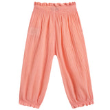 Girls Pink Cotton Waist Trousers With Frilly Cuffs