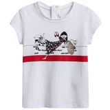 Baby Girls White Cotton Modal T-shirt