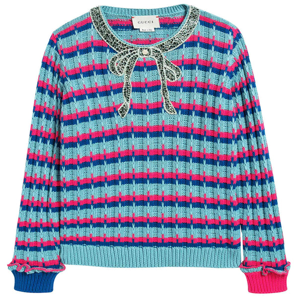 Girls Color Striped Sweater