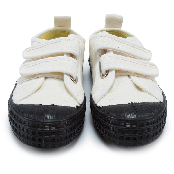Boys White Black Velcro Shoes