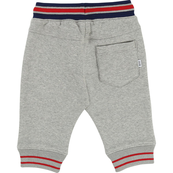 Baby Boys Grey Chine Logo Cotton Trousers