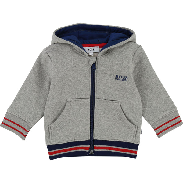 Baby Boys Grey Chine Cotton Cardigan