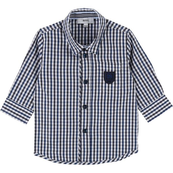 Baby Boys Blue & White Check Cotton Shirt