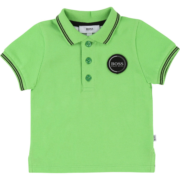 Baby Boys Green Flash Cotton Polo Shirt