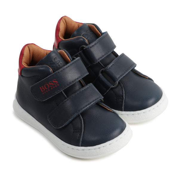 Boys Black & Red Logo Sneakers