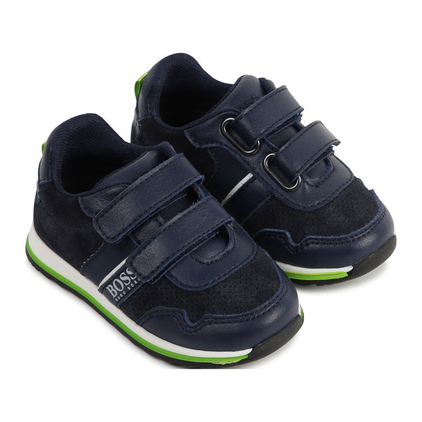 Boys Black & Green Logo Sneakers
