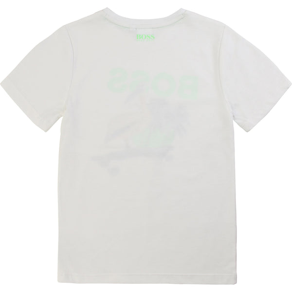 Boys White Pattern Cotton T-shirt