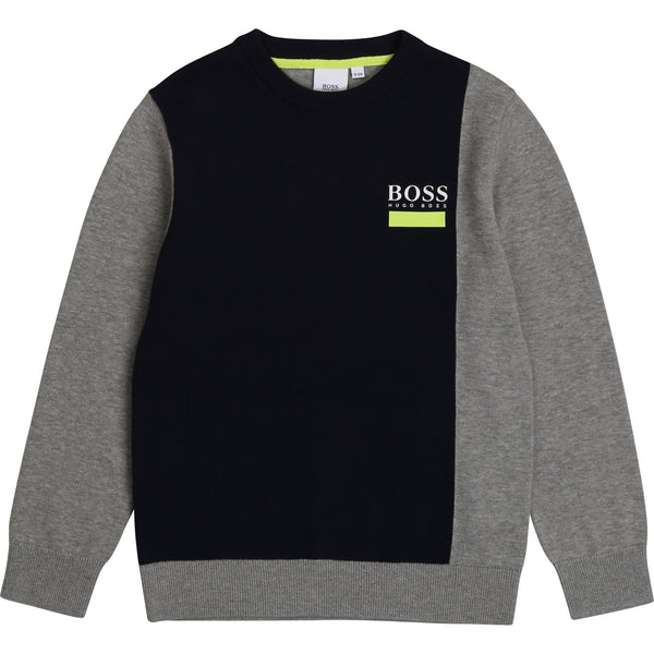 Boys Grey & Black Cotton Jumper