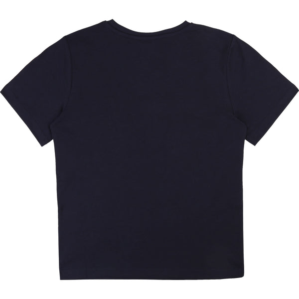 Boys Dark Navy Logo Cotton T-Shirt
