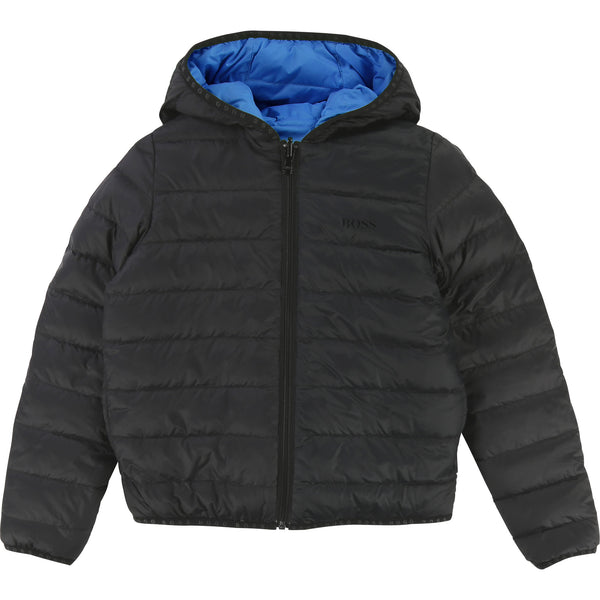 Boys Black & Blue Reversibie Coat