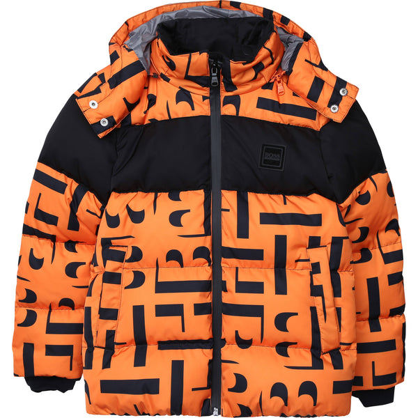 Boys Orange Padded Down Jacket