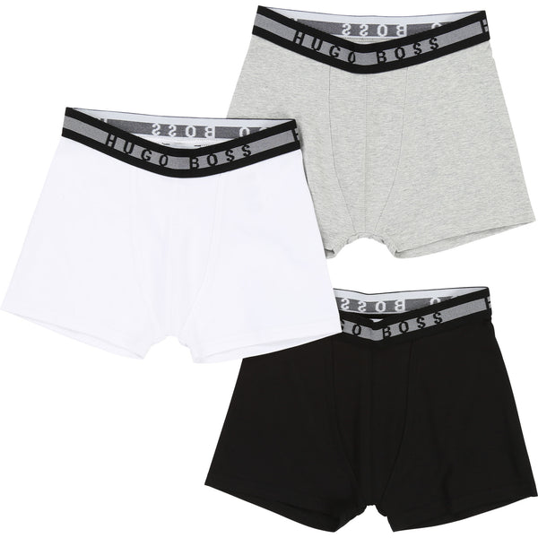 Boys White & Blue & Grey Underwear Cotton Sets