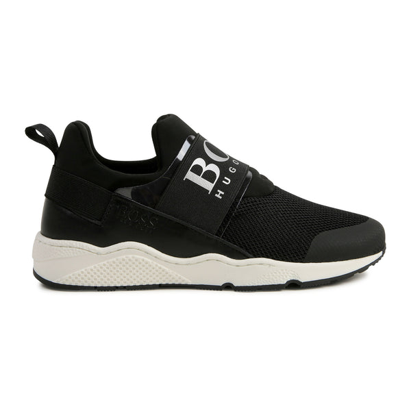 Boys Black Logo Sneakers
