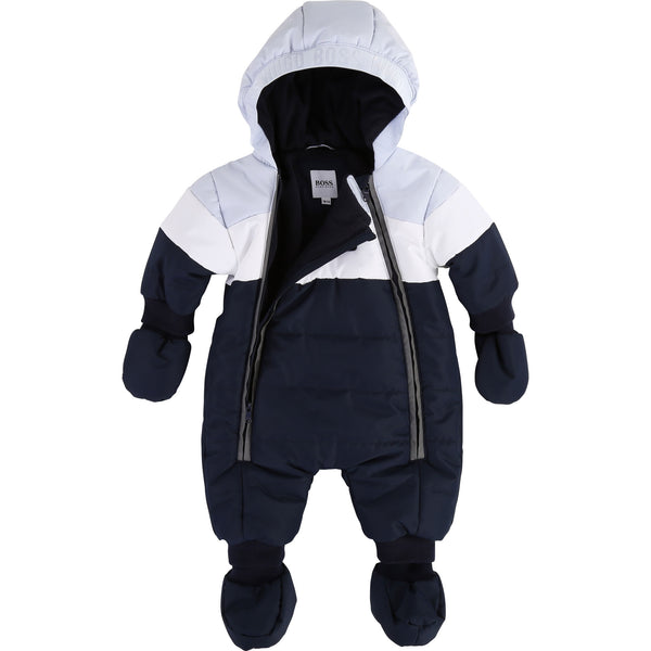 Baby Boys Navy Cotton Babysuit