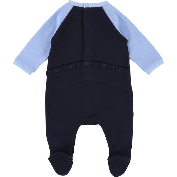 Baby Boys Blue & Black Cotton Babysuit & Bib Set
