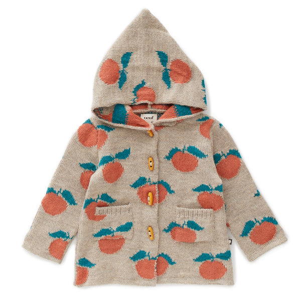 Girls Beige & Apricot Pattern Hooded Alpaca Coat
